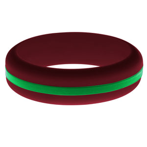 Womens Cardinal Red Silicone Ring with Green Changeable Color Band