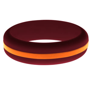 Womens Cardinal Red Silicone Ring with Orange Changeable Color Band