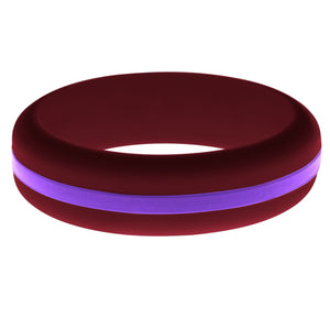 Womens Cardinal Red Silicone Ring with Purple Changeable Color Band