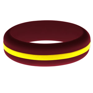 Womens Cardinal Red Silicone Ring with Yellow Changeable Color Band