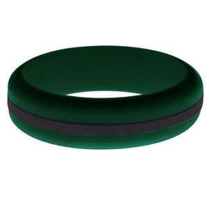 Womens Dark Green Silicone Ring with Black Changeable Color Band