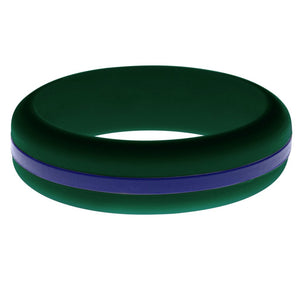 Womens Dark Green Silicone Ring with Blue Changeable Color Band