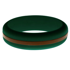 Womens Dark Green Silicone Ring with Brown Changeable Color Band