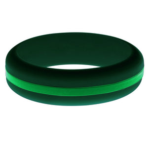 Womens Dark Green Silicone Ring with Green Changeable Color Band