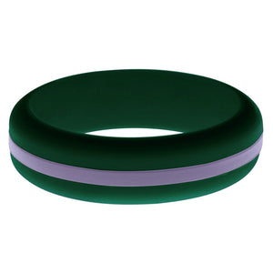 Womens Dark Green Silicone Ring with Medium Purple Changeable Color Band