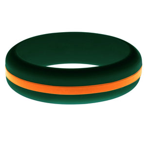 Womens Dark Green Silicone Ring with Orange Changeable Color Band