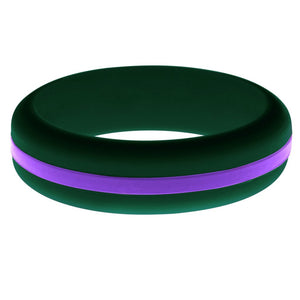 Womens Dark Green Silicone Ring with Purple Changeable Color Band