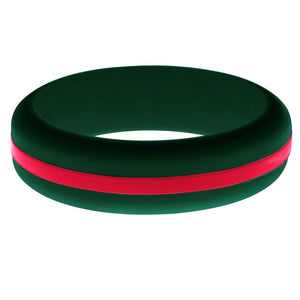 Womens Dark Green Silicone Ring with Red Changeable Color Band