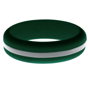 Womens Dark Green Silicone Ring with Silver Changeable Color Band