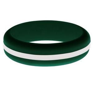 Womens Dark Green Silicone Ring with White Changeable Color Band
