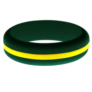 Womens Wildland Firefighter Silicone Ring Dark Green with Thin Yellow Line Changeable Color Band