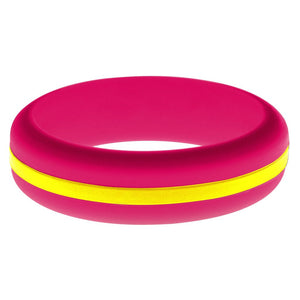 Womens Dark Pink Silicone Ring with Yellow Changeable Color Band