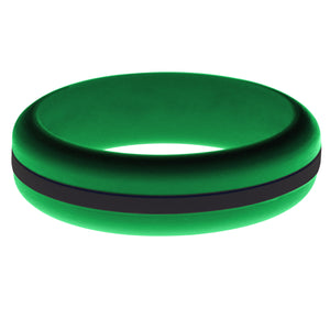 Womens Green Silicone Ring with Black Changeable Color Band