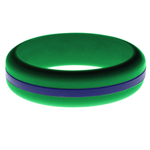 Womens Green Silicone Ring with Blue Changeable Color Band
