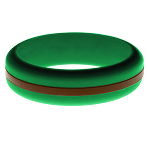 Womens Green Silicone Ring with Brown Changeable Color Band