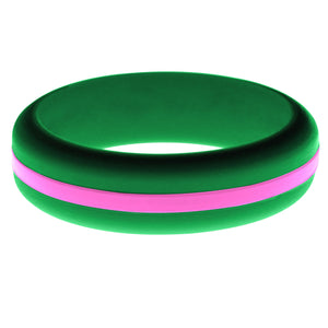Womens Green Silicone Ring with Hot Pink Changeable Color Band