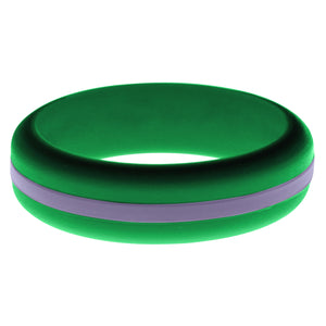Womens Green Silicone Ring with Medium Purple Changeable Color Band