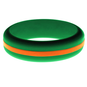 Womens Green Silicone Ring with Orange Changeable Color Band