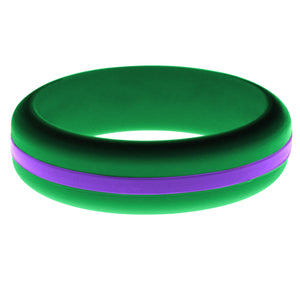 Womens Green Silicone Ring with Purple Changeable Color Band