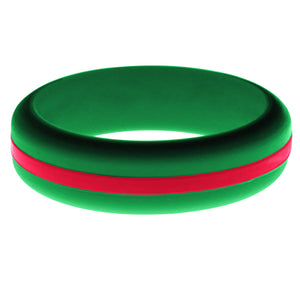 Womens Green Silicone Ring with Red Changeable Color Band