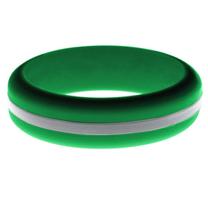 Womens Green Silicone Ring with Silver Changeable Color Band