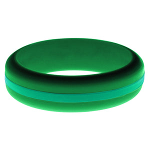Womens Green Silicone Ring with Teal Changeable Color Band