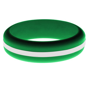 Womens Green Silicone Ring with White Changeable Color Band