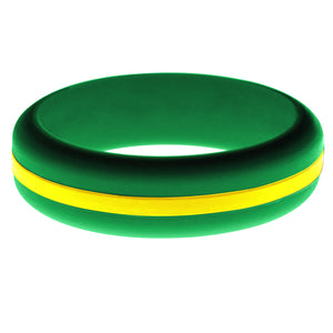 Womens Green Silicone Ring with Yellow Changeable Color Band