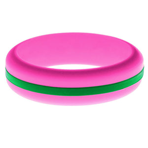 Womens Hot Pink Silicone Ring with Green Changeable Color Band