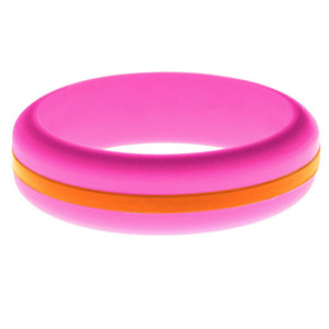 Womens Hot Pink Silicone Ring with Orange Changeable Color Band