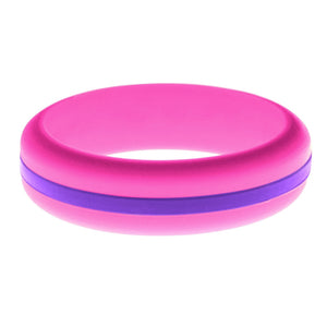 Womens Hot Pink Silicone Ring with Purple Changeable Color Band
