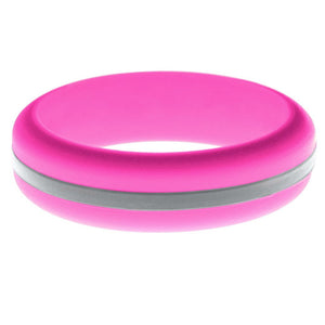 Womens Hot Pink Silicone Ring with Silver Changeable Color Band
