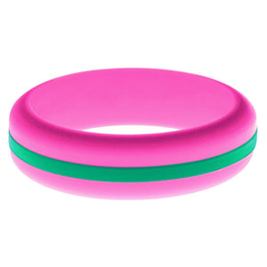 Womens Hot Pink Silicone Ring with Teal Changeable Color Band