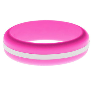 Womens Hot Pink Silicone Ring with White Changeable Color Band