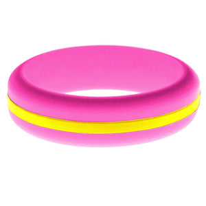 Womens Hot Pink Silicone Ring with Yellow Changeable Color Band