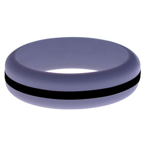 Womens Medium Purple Silicone Ring with Black Changeable Color Band