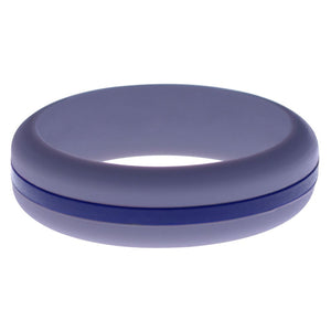 Womens Medium Purple Silicone Ring with Blue Changeable Color Band