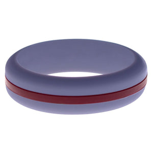 Womens Medium Purple Silicone Ring with Cardinal Red Changeable Color Band