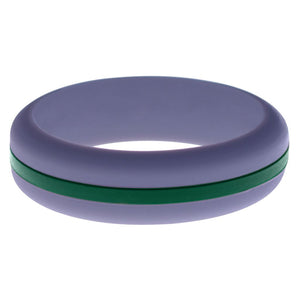 Womens Medium Purple Silicone Ring with Dark Green Changeable Color Band