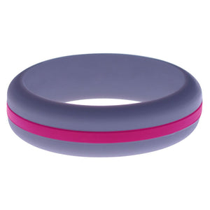 Womens Medium Purple Silicone Ring with Dark Pink Changeable Color Band