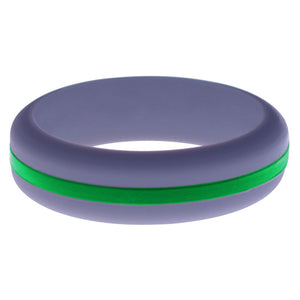 Womens Medium Purple Silicone Ring with Green Changeable Color Band