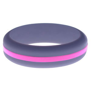 Womens Medium Purple Silicone Ring with Hot Pink Changeable Color Band