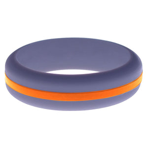 Womens Medium Purple Silicone Ring with Orange Changeable Color Band
