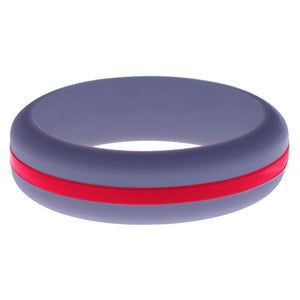 Womens Medium Purple Silicone Ring with Red Changeable Color Band
