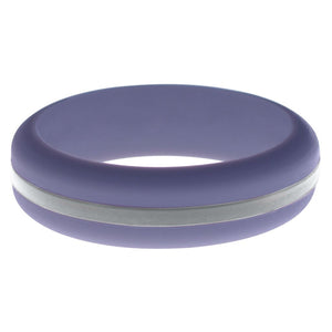 Womens Medium Purple Silicone Ring with Silver Changeable Color Band