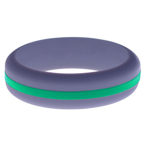 Womens Medium Purple Silicone Ring with Teal Changeable Color Band