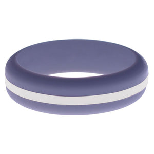 Womens Medium Purple Silicone Ring with White Changeable Color Band