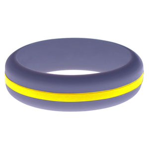 Womens Medium Purple Silicone Ring with Yellow Changeable Color Band