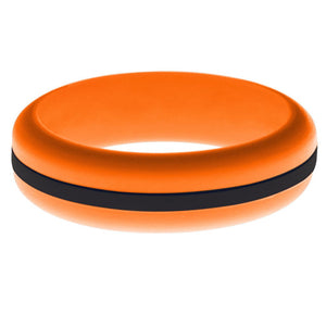 Womens Orange Silicone Ring with Black Changeable Color Band