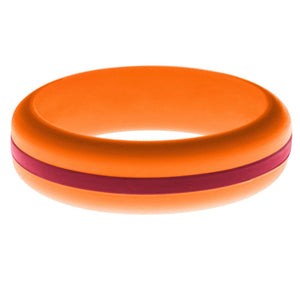Womens Orange Silicone Ring with Cardinal Red Changeable Color Band